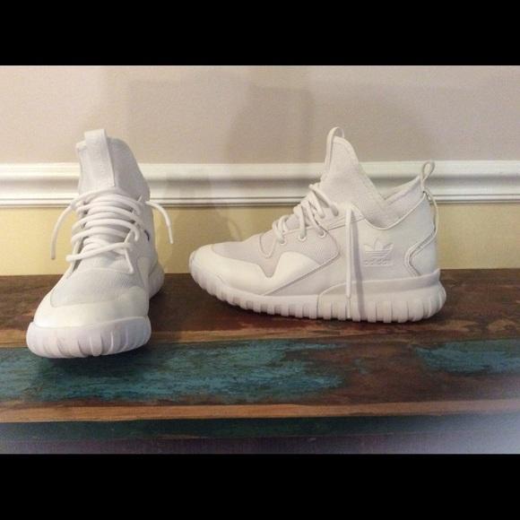 Adidas zapatos tubular x blanco usado 1x SZ 10 Jeezy poshmark